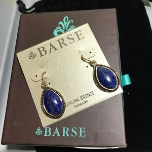 Barse navy blue genuine bronze earrings, 1.5""